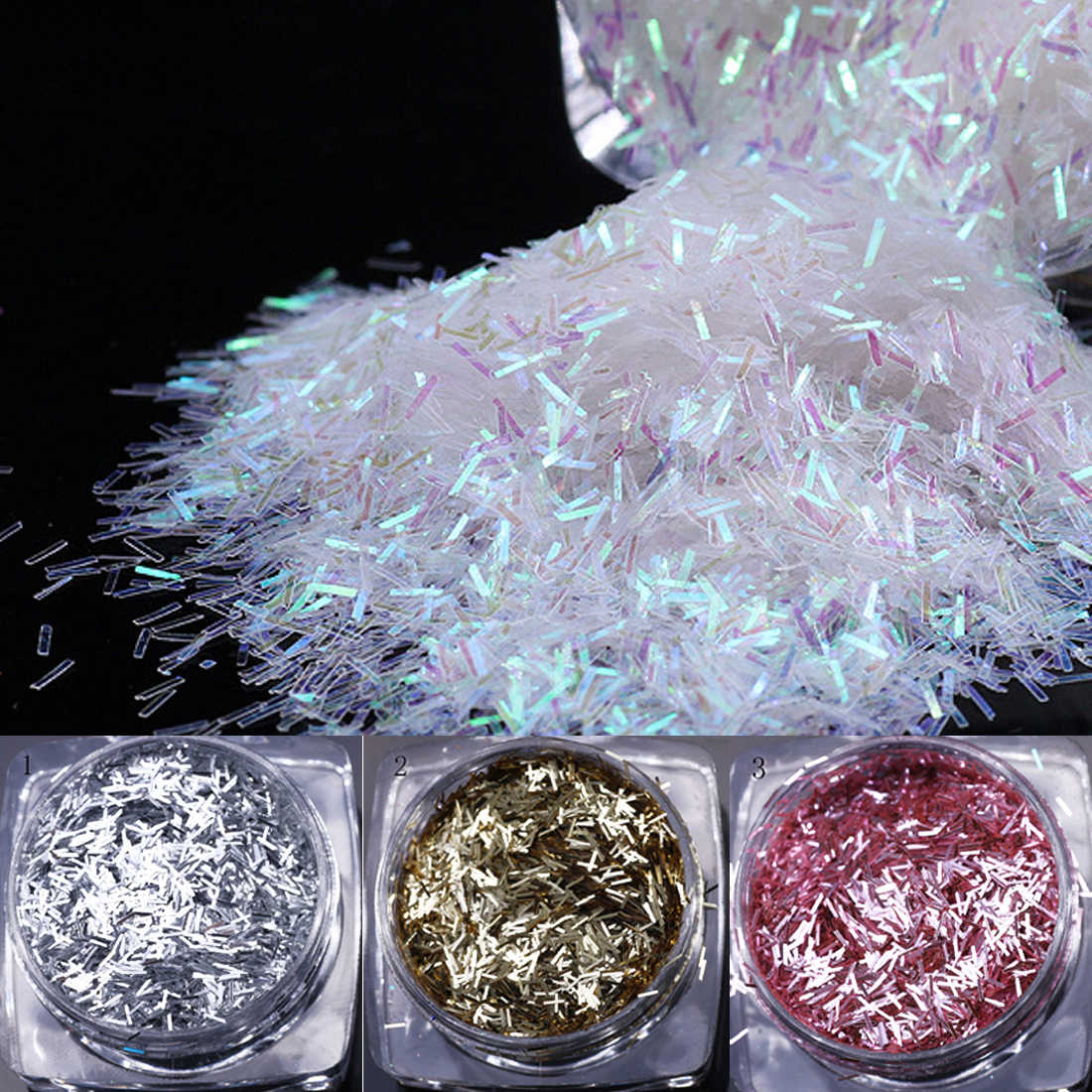Colorful Stripe White Glitter Paillette Striped Flakes Manicure Nail Art Decoration 12 Colors Stripe Shape Nail Sequins