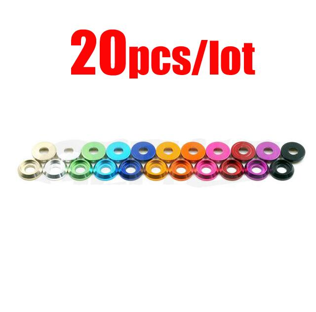 Free Shipping 20pcs M3 colorful Aluminum alloy Gaskets M3 Gasket spacer Washer M3 Spacers for M3 cup head screw round head screw