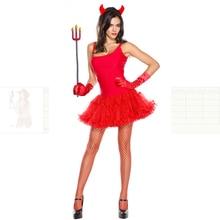 4-piece Women Red Devil Demon Headwear+Dress+Gloves+Fork Set Cosplay halloween costume for Women decorations Carnival Uniforms