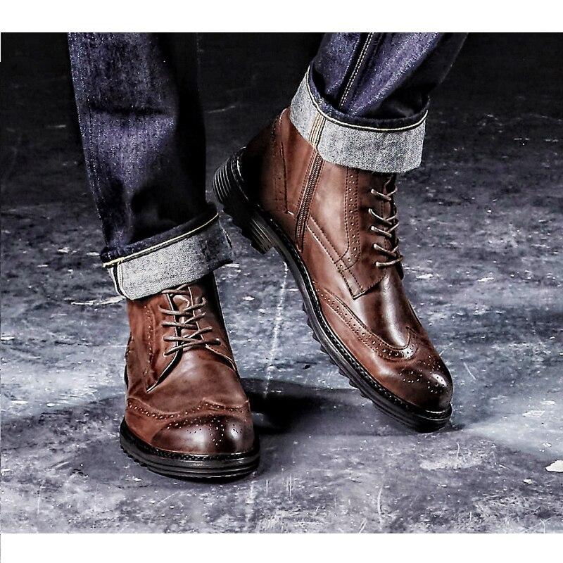 Vintage De Nova black Boots Brogue Mycoron Estilo Ankle Homens Couro Winter Britânico Masculino Confortáveis Moda warm Botas Do Casual Preto tqHYR8x