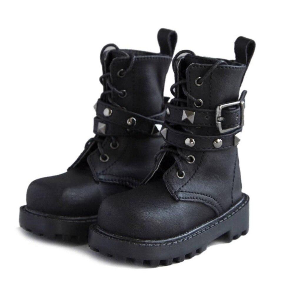 [wamami] 46# Black 1/3 SD Locomotiv BJD Dollfie Rivet Synthetic Leather Shoes/Boots 1 3 1 4 1 6 1 8 1 12 bjd wigs fashion light gray fur wig bjd sd short wig for diy dollfie