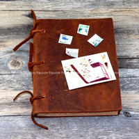 Vintage Blank Diaries Journals Notebook Note Book Leather Rope Traveler Thick Genuine Leather D20141017