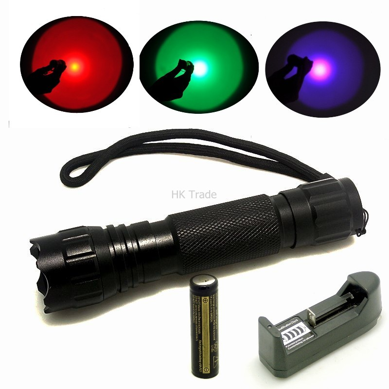 501B Green/Red/Blue/UV LED Light 300 Lumen XPE Lanterna Mini Torch For Outdoor Hunting Flashlight+4000mah battery+charger