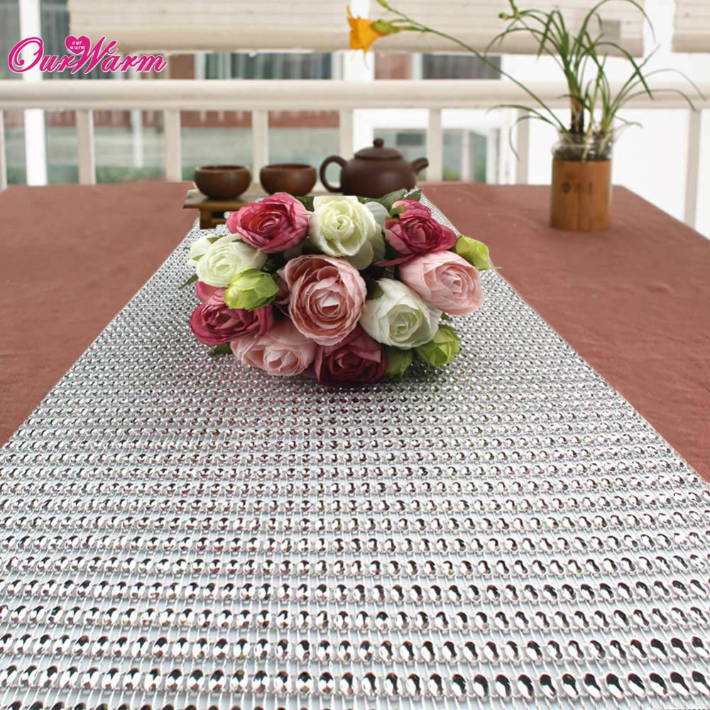 Diamond Mesh Table Runner Wedding Party Bling Decoration 50 Rows 24cm*1yard  Silver Rhinestone Wrap Ribbon Roll Sparkle Crystal In Table Runners From  Home ...