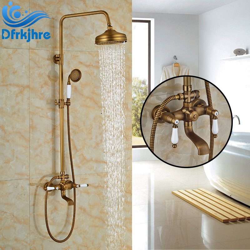 Antique Brass Wall Mounted Bathroom Shower Faucet 8 Rainfall Shower Head Double Handles Bathtub Faucet