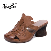 Xiangban 2018 genuine leather women beach sandals slippers summer sandals women high heels baotou