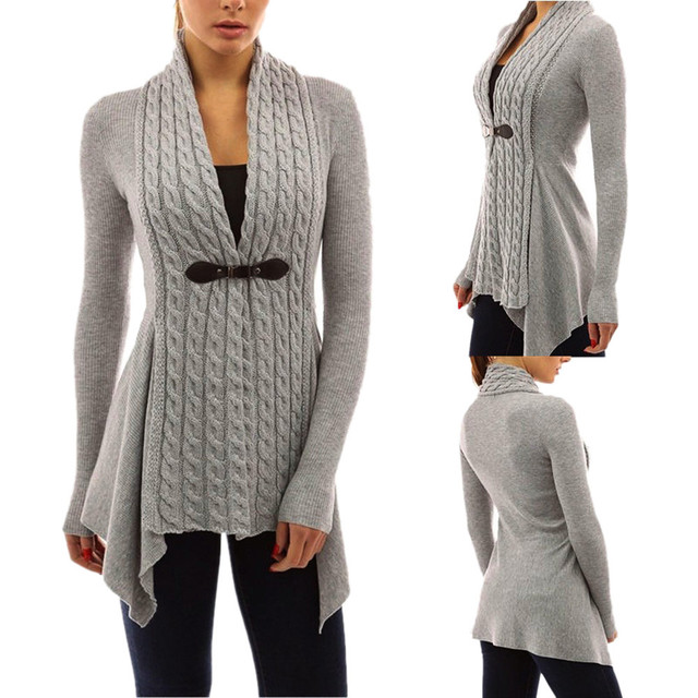 2017 Winter Autumn Womens Knitted Cardigan Coat Long Sleeve ...