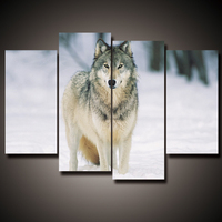 4 Pcs Mordern Canvas Painting Frameless Animal Art Poster Wall Wolf Oil Picture Home Decor Print