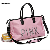 Women Sequins Character PINK Sports Gym Bag Fitness Handbags For Shoes European Style Training Bag Large Travel Luggage Bag Rose