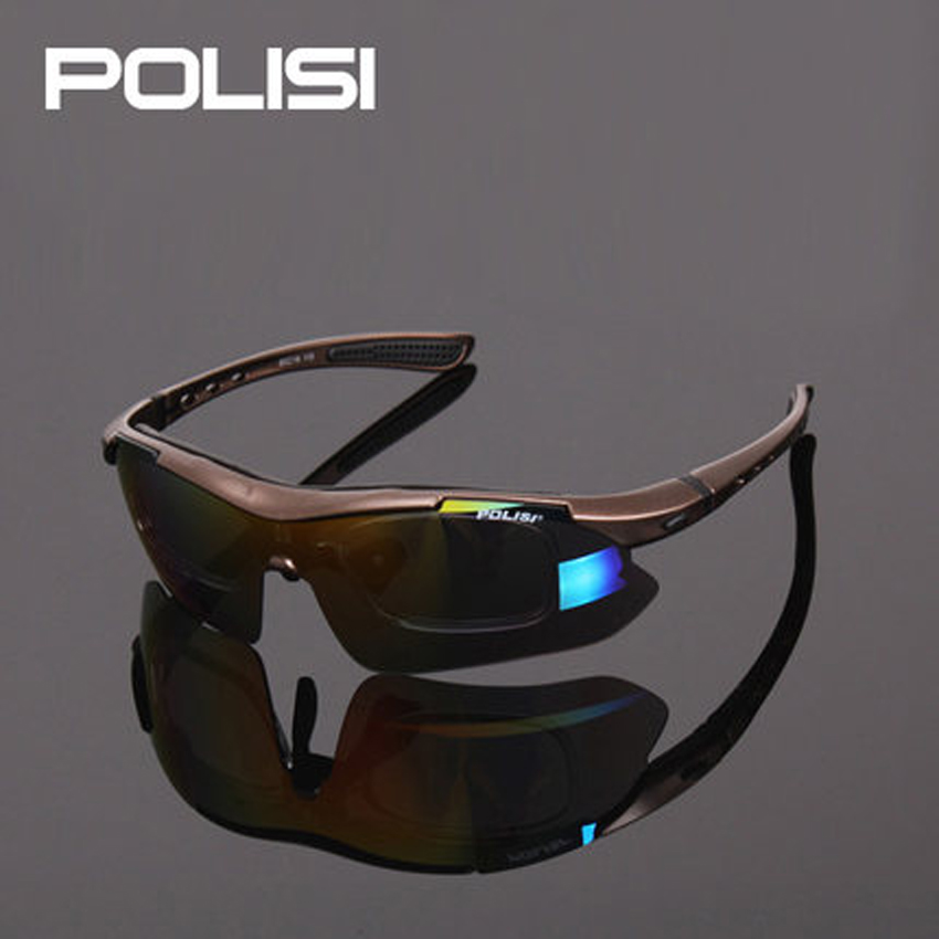 New POLISI Men Sun Glasses Cycling Glasses Bicycle Road Mountain Bike Riding Eyewear Goggle Sunglasses 5 Lens Polarized