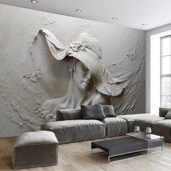 Пользовательские 3D стерео тисненые цементные персонажи скульптура фото обои Европейский стиль винтаж гостиная прикроватный Декор 3D Фреск...
