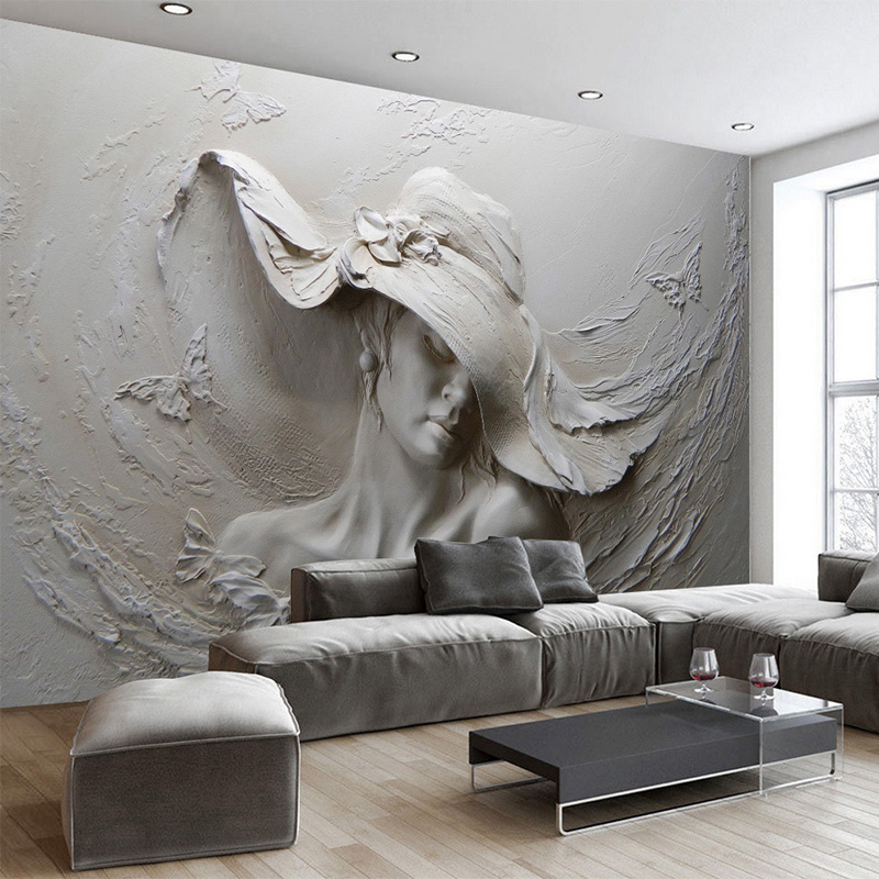 Custom 3D Stereo Embossed Cement Characters Sculpture Photo Wallpaper European Style Vintage Living Room Bedside Decor 3D Mural