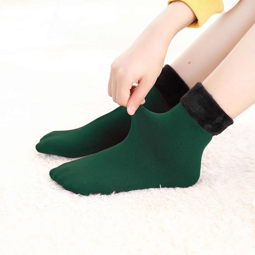 Sıcak kış çorap isıtıcı kadınlar kalınlaşmak termal yün kaşmir kar çorap dikişsiz kadife çizmeler kat uyku çorap Mens Womens