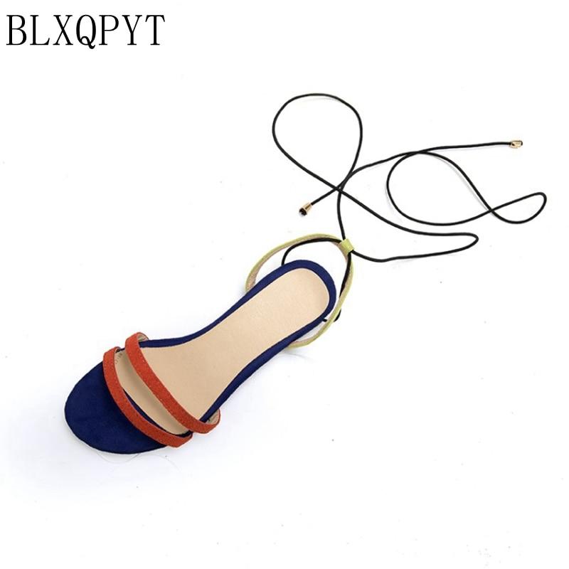 BLXQPYT Strap Sandals Low-Heel-Shoes Lace-Up Open-Toe Woman 34-39women Breathable Beach