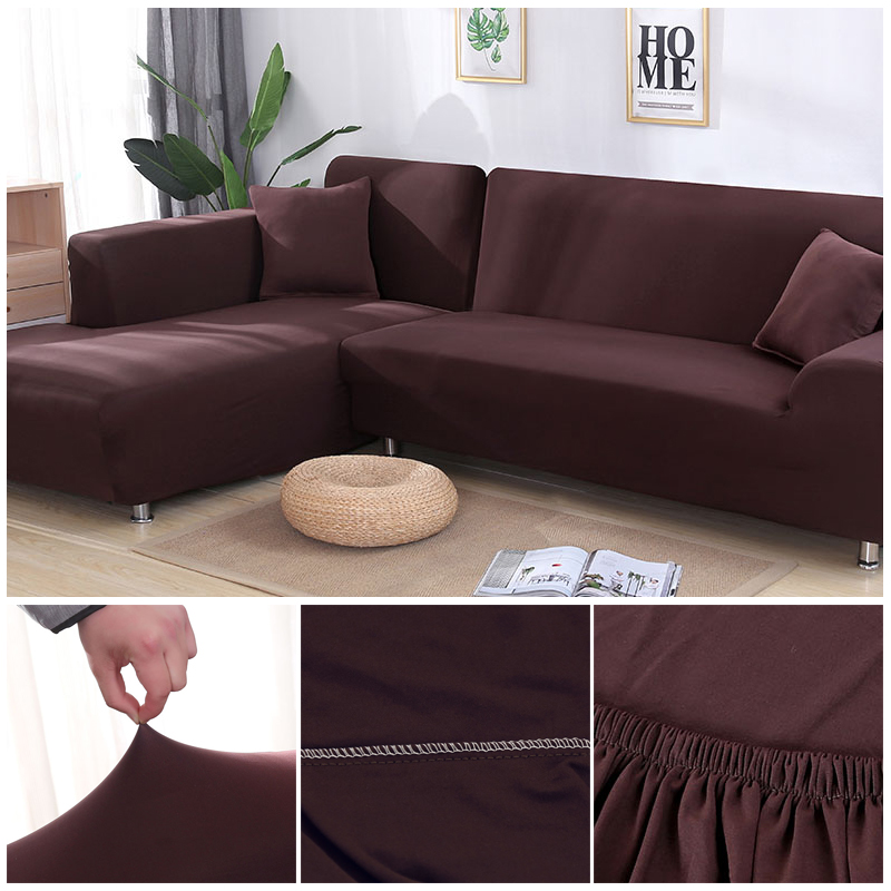 L shaped Solid Sofa Cover with Elastic for Sectional and Corner Sofa with Deep Gap Suitable in Living Room and Office 19