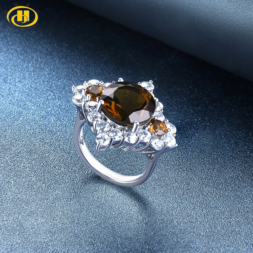 Hutang Engagement Wedding Ring Natural Gemstone RD 12mm Smoky Quartz Solid 925 Sterling Silver Crystal Fine Fashion Jewelry Gift