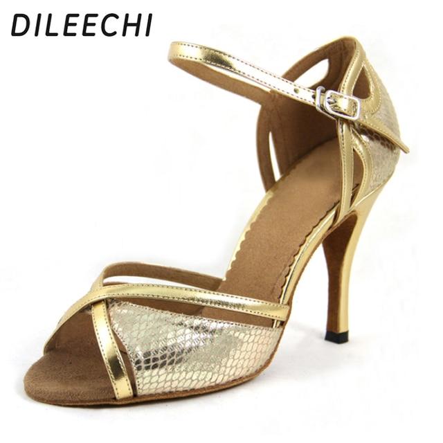 DILEECHI Wholesale Latin dance shoes Women s High-heeled 9CM Ballroom  dancing shoes Red Gold snake PU dance shoes cdcf814132b3