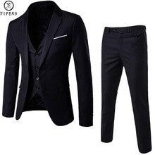 Mens 3 Pieces Blazers Pants Vest Social Wedding Suit Thin Me