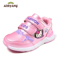 Girls Spring Sneakers Children Cartoon Hello Kitty Fashion Shoes Little Kids Sports Hooks Shoes Toodlers Flats