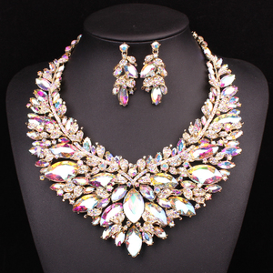 Image 4 - New Gorgeous Bridal Jewelry Sets  Wedding Necklace Earring Set For Brides Party Big Crystal  Accessories Statement Necklace Set