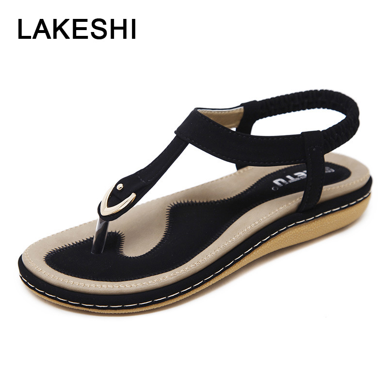 LAKESHI Flip Flops Women Sandals Bohemian Women Slippers Women Flat Shoes Ladies Sandals 2018 Summer Beach Sandals Size 10 2016 flower women sandals flat flip flops bohemian gladiator sandals women summer style fashion beach slippers zapatos mujer