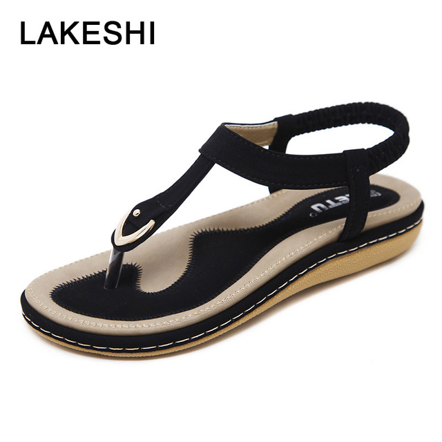 f74987e4d53fa LAKESHI Flip Flops Women Sandals Bohemian Women Slippers Women Flat Shoes  Ladies Sandals 2018 Summer Beach Sandals Size 10