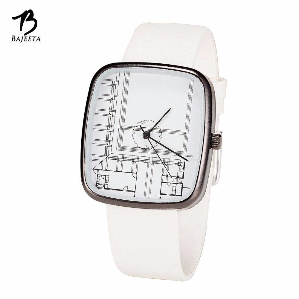 Bajeeta graffiti pintura estilo simple mujeres reloj de moda de cuero elegante reloj de cuarzo del rectángulo relojes Dropship