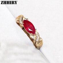 Anillo de Rubí joya Natural de piedra Auténtica plata de ley 925 mujer joyería plateada oro de la boda anillos noble real