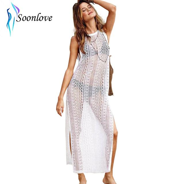 c6d3f5f11979e Luxurious Designer Sun Day Sheer Woman Lace Long Beach Dress O Neck Side  Split Sleeveless Bohemian Beach Dress for Summer L38180