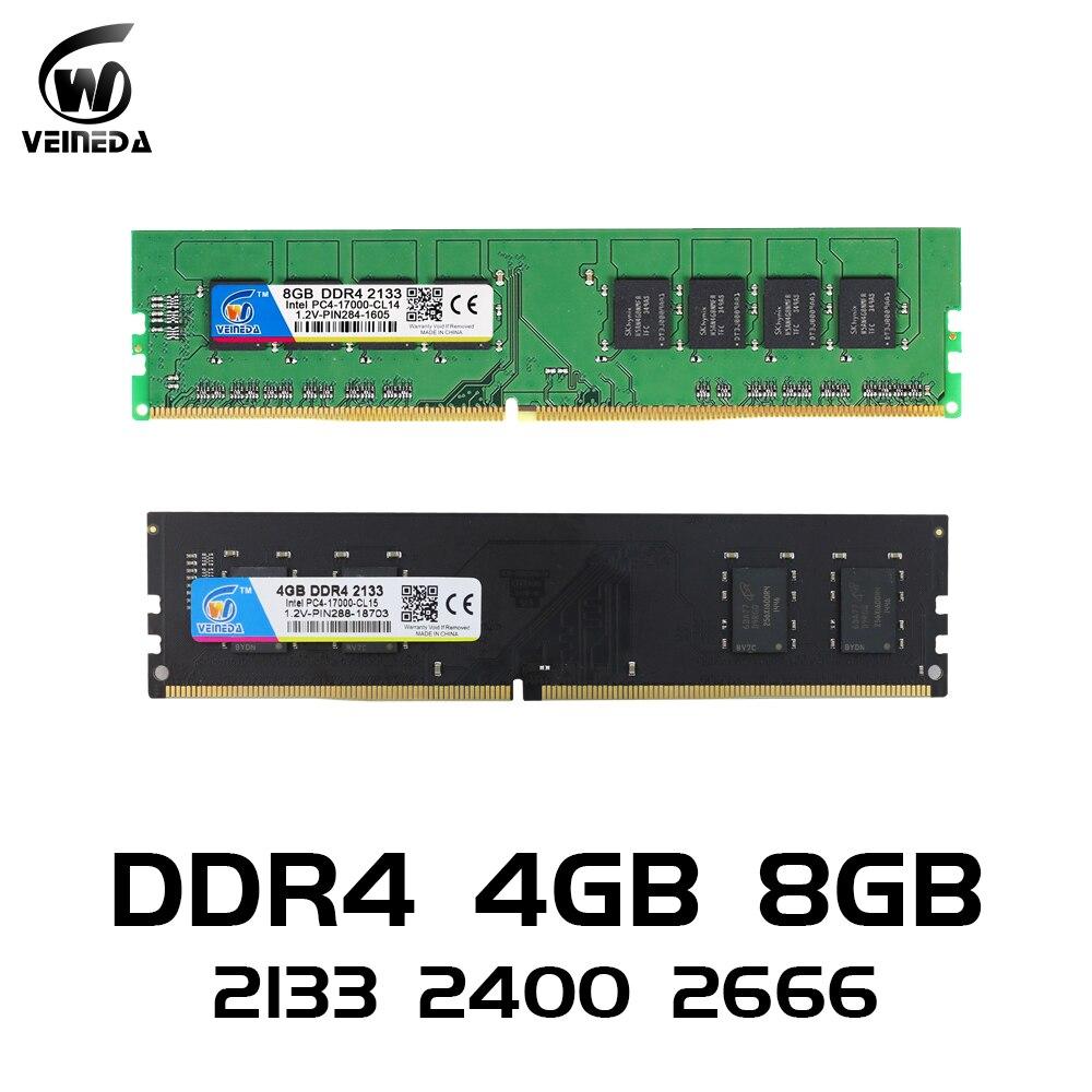 VEINEDA ddr4 8 gb RAM Do Computador PC 4GB 8GB 4G 4 PC4 8G de Memória DDR 2133 2400 2666Mhz Desktop Motherboard Memoria 284-pin