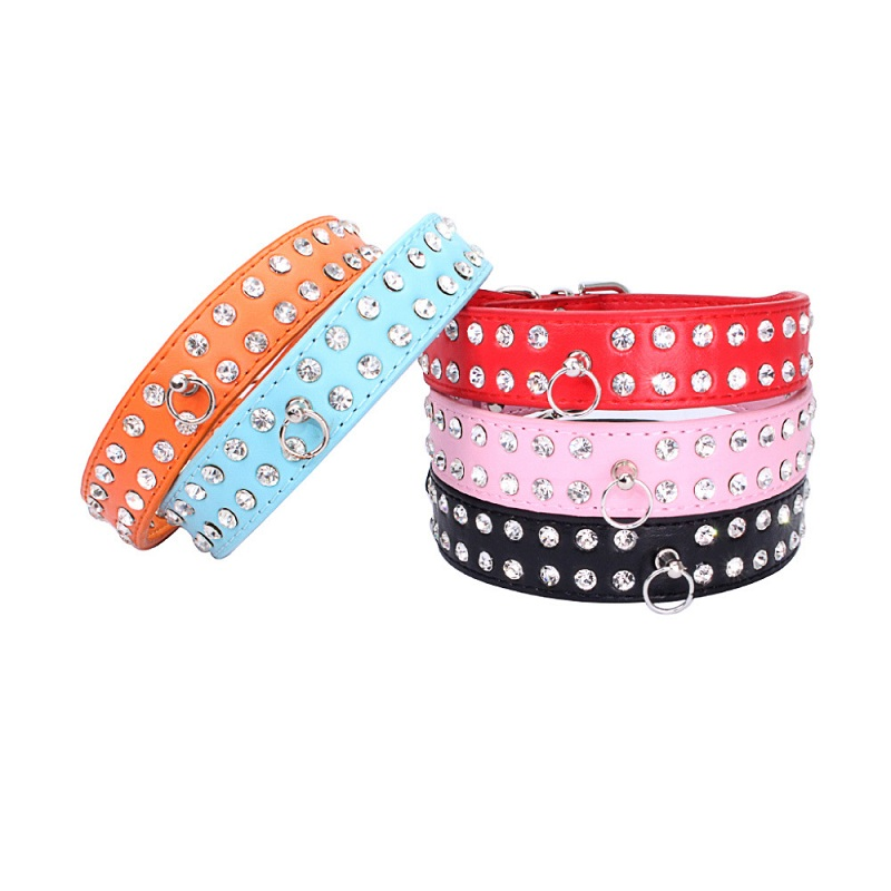Bling Rhinestone PU Collar Leather Crystal Diamond Shining Dazzling Puppy Pet Dog Collars Pink