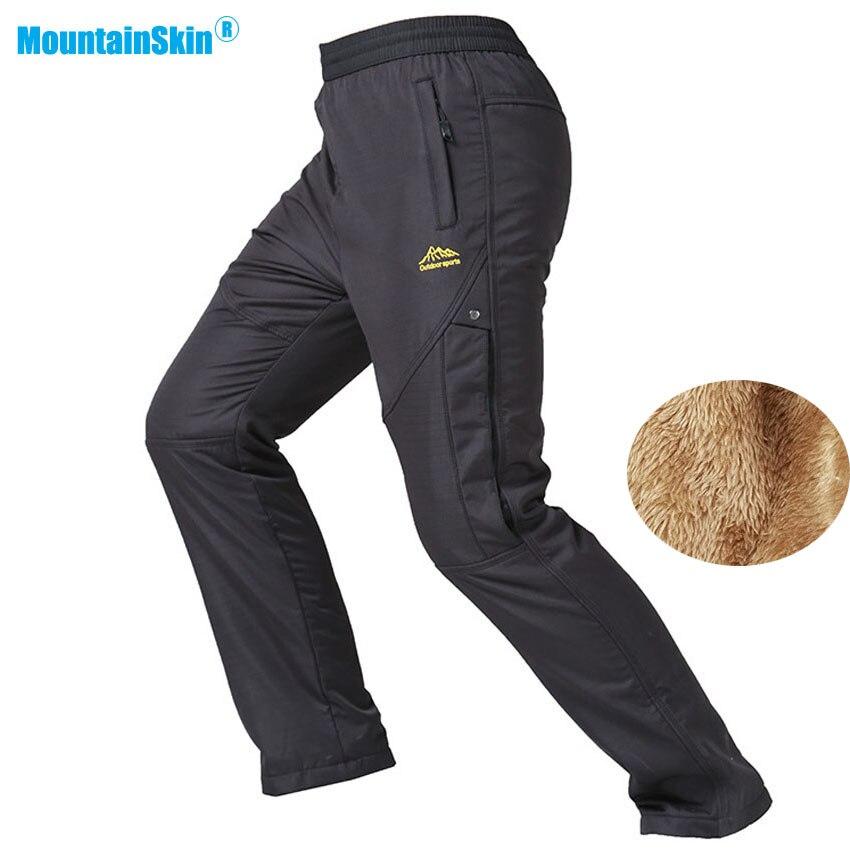 Mountainskin New Men's Winter Waterproof Thermal Fleece Pants Outdoor Hiking Trekking Climbing Skiing Male Sports Trousers MA151