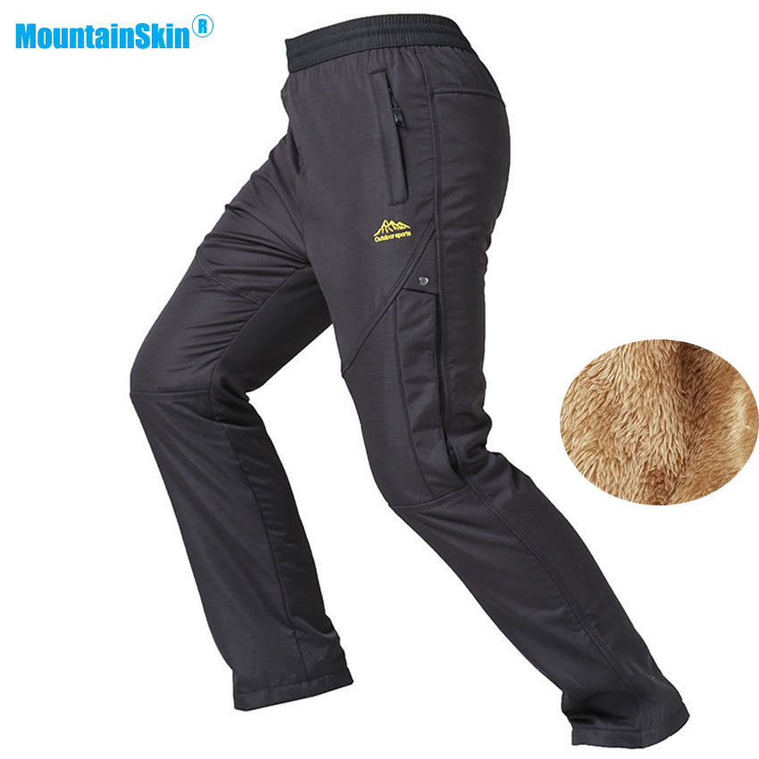 Mountainskin New Men's Winter Waterproof Thermal Fleece Pants Outdoor Hiking Trekking Climbing Skiing Male Sports Trousers MA151