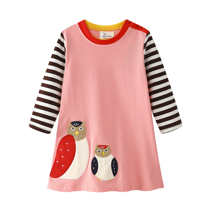 Jumping meters new baby girls cartoon dress with applique two birds kids striped long sleeve spring autumn winter dress new 2018 new arrival korean spring autumn and winter girls dress vest dress girls new year dress nigerian dress with hat