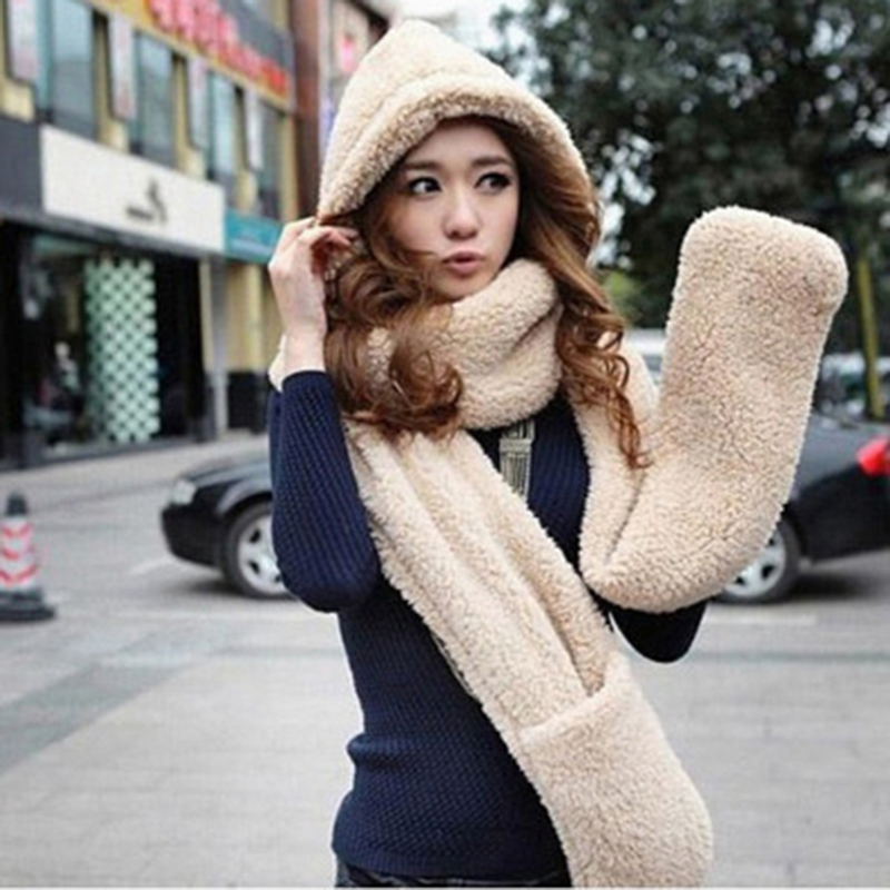 Hot Sale 3 Piece Sets Women Winter Warm Soft Hood Scarf Snood Pocket Hats Gloves New Fashion Hooded Scarf Hat Glove Bigsweety