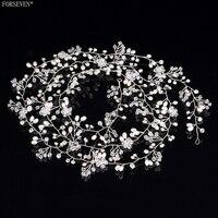 150cm Handmade Pearl Crystal Headdress FORSEVEN Trendy Wedding Accessories Hair Flowers Bridal Long Headband Tiara E161223