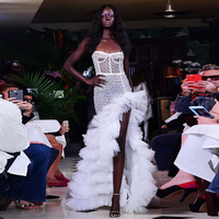 HIGH QUALITY New Fashion 2018 Designer Runway Dress Women's Strapless Cascading Ruffle Sequined Mesh Long Dress