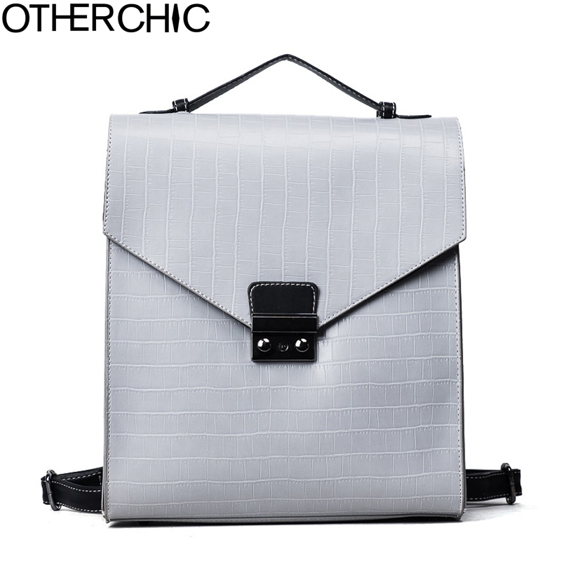 OTHERCHIC High Quality Women Leather Backpack Stone Pattern Vintage Backpack Preppy Style For Teenage Girls Haversack