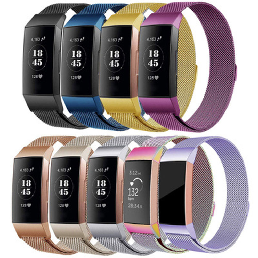 Milanese loop band Voor Fitbit lading 3 fitness band vervanging riem roestvrij stalen armband voor Fitbit lading 3 horloge bands