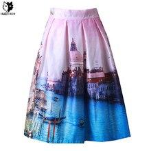 HUOX Dreamy Water Castle Women's Bubble Skirt 2016 Summer Fall 50s 60s Audrey Hepburn Style High Waist Midi  Ball Gown Skirt