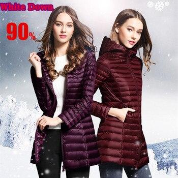 цена на Brieuces 90% White Duck Down Coat Women Ultra Light Down Jackets winter New Women Long Down Coat Parka with Hood plus size XS-4X