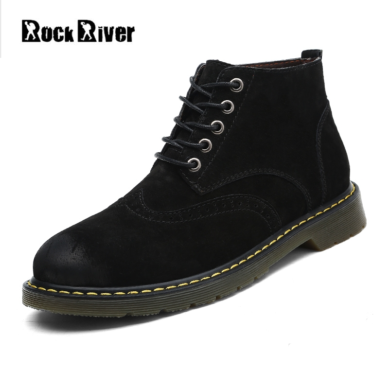 2018 Genuine Leather Boots Men High Top Black Men Boots Dr Martins Casual Ankle Tactical Work Safety Shoes Plus Size 38-47 plus size 36 46 genuine leather women ankle boots hiking shoes women work safety shoes