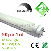 Free Shipping Dimmable 100pcs Lot 4ft T8 LED Fluorescent Tube Light 1200mm 18W 1650LM CE RoHs