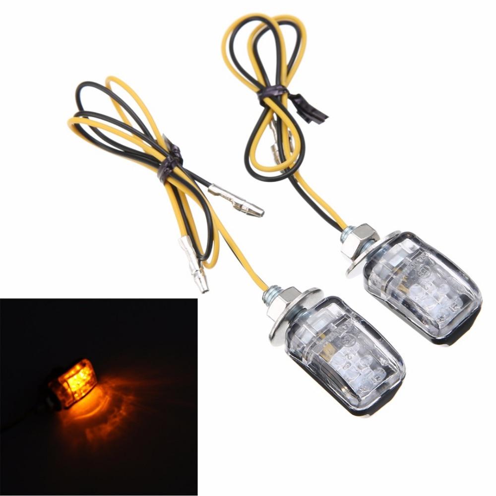 2 pcs 12 v motocicleta 6 led mini luz indicadora de pisca-pisca pisca lâmpada do flash âmbar universal para honda kawasaki suzuki