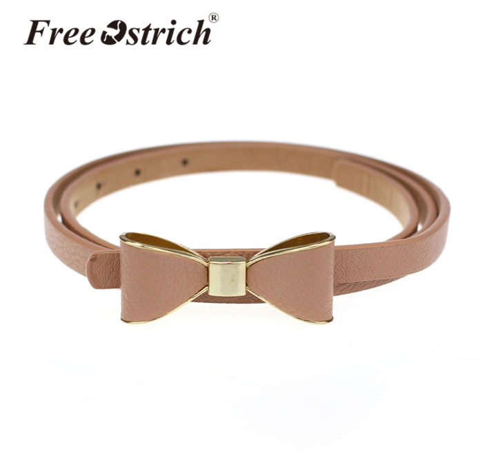 Free Ostrich PU Leather Women 2019 Skinny Butterfly Bow Waist   Belt   Dor Dress Narrow Thin Waistband Hot Sale Dropshipping A1220