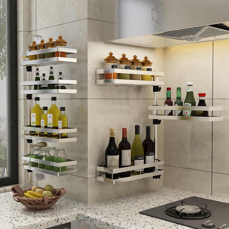 Kitchen Rack Organizer,wall Hanging,180 Degree Rotating,Countertop 2-Tier  Spice Rack,rotatable Corner Shelf,Stainless Steel