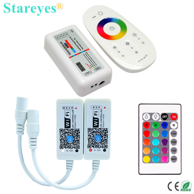 1 Set Wireless RF 2.4G me ekran me prekje Remote LED Kontrollues LED RGB Dimmer 12V-24V 3 Kanale WIFI LED Kontroll RGBW RGBW për Rrip LED