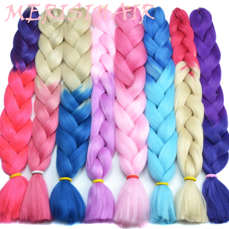 Jumbo Braids Systematic Merisihair Long Ombre Kanekalon Jumbo Synthetic Woven Hair Crochet Yellow Pink Purple Gray Hair Extension Oversized Tweezers