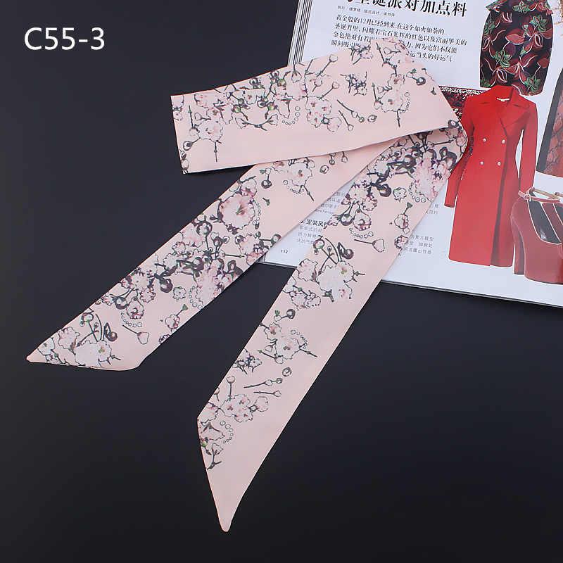 Nueva bufanda de seda estrecha esbelta de flores trituradas bufanda de cabeza de mujer bufanda infinita bufanda chal bufandas de lujo 2019 para mujer