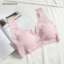 BIAORUINA 4 Colors Women's Seamless Comfortable Solid Lace Patchwork Sexy Bras Female Casual Padded Wire Free Intimates(China)